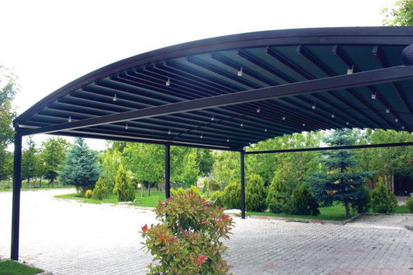 Pergola à toile rétractable autoportée à toit arrondi à toit arrondi - ref. Pearl
