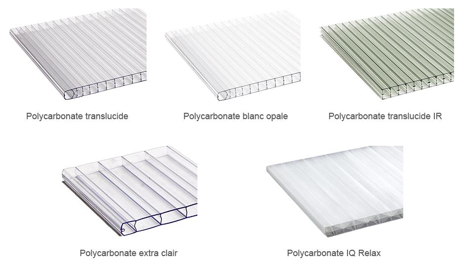 Couleur des toits des pergolas en polycarbonate